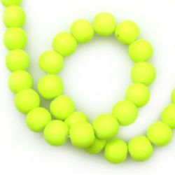 Rubber glass round beads string for DIY jewelry findings 10 mm hole 1.3 ~ 1.6 mm electric green ~ 80 cm ~ 85 pieces