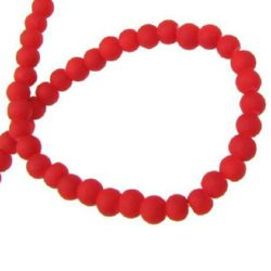 Glass round beads strand with rubber coating for vintage jewelry making 4 mm hole 1 ~ 1.5 mm red ~ 80 cm ~ 210 pieces