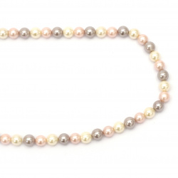 String natural pearl grade A 8 mm assorted ~ 49 pieces
