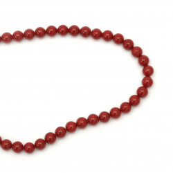 String natural pearl class A 8 mm red ~ 49 pieces