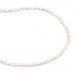 String beads natural pearl 4~5mm hole 0.5mm color cream ~ 77 pieces