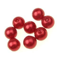 Fake Pearl Acrylic Beads ball 10 mm hole 2 mm red -50 grams ~ 100 pieces