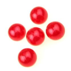 Faux Pearl Beads Ball 14mm Hole 3mm Red -50g ~ 36pcs