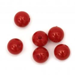 Γυάλινες χάντρες απομίμηση μαργαριτάρι10 mm τρύπα 2 mm κόκκινο -50 γραμμάρια ± 95 τεμάχια