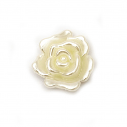 Faux Pearl Acrylic Beads  rose with one hole 32x12 mm hole 2 mm color cream -5 pieces ~ 19 grams