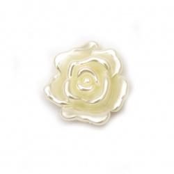 Perlă de forma trandafir cu o gaură 32x12 mm gaură 2 mm crem -5 bucăți ~ 19 grame