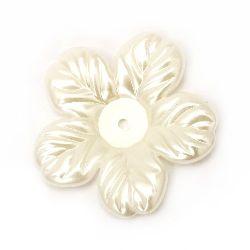 Perlă floare  52x6 mm gaură 3 mm crem -5 bucăți ~ 18 grame