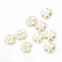 Perla forma  trifoi 12x4 mm gaură 1 mm crem -20 grame ~ 64 buc