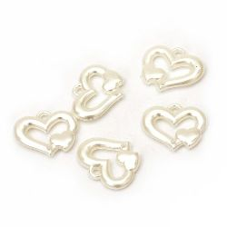 Свързващ елемент перлен сърце 25x20x4.5 мм дупки x 2 мм цвят крем -20 грама ~ 24 броя