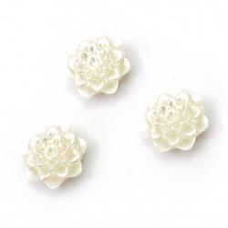 Мънисто перлено цвете 12x6 мм дупка 1 мм цвят крем -20 грама ~ 52 броя