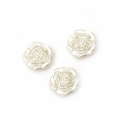 Pearl rose button 18.5x18.5x7 mm with two holes x 2 mm cream color -20 grams ~ 20 pieces