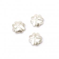 Perla trifoi 18x18x6,5 mm gaură 1 mm crem -20 grame ~ 20 bucăți