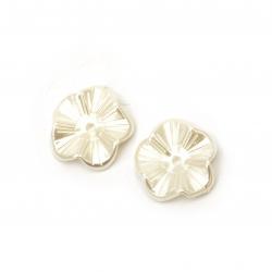 Perlă floare 22x5 mm gaură 2 mm crem -20 grame ~ 22 bucăți