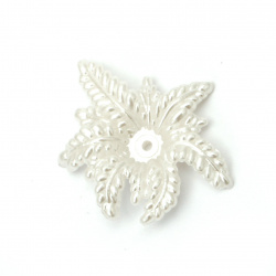 Pearl flower bead 36x30x7 mm hole 1.5 mm color white -20 grams ± 18 pieces