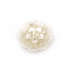 Pearl flower bead 25x7 mm hole 2.5 mm cream color -5 pieces