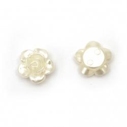 Margele de trandafir perlate 12x5,5 mm gaură 1,5 mm culoare crem -50 bucăți