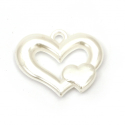 Pearl heart pendant 27x34x6 mm hole 3 mm color white -20 grams ± 9 pieces