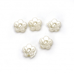 Pearl flower bead 8.5x9x4 mm hole 2 mm cream color -50 pieces