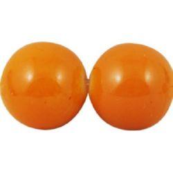 Наниз мъниста стъкло топче 8 мм плътно оранжева ~90 см ~115 броя