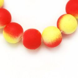 Velvet glass rubber coated beads strand for jewelry making and DIY home art projects 8 mm two-tone red and yellow ~ 80 cm ~ 105 pieces