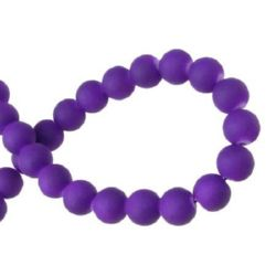 Opaque glass rubberized beads strand, ball shaped for jewelry making and other DIY art projects 8 mm purple ~ 80 cm ~ 105 pieces