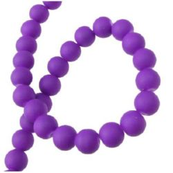 Rubber glass beads strands, soft touch ball shaped for jewelry making 8 mm orchid ~ 80 cm ~ 105 pieces
