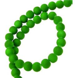 Glass round beads strand with rubber coating for handmade earrings, key chains, bracelets or necklac 8 mm green dark ~ 80 cm ~ 105  pieces