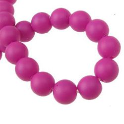 Painted glass rubber beads strand, ball form for DIY dress decoration, gifts and other crafts 8 mm   deep pink ~ 80 cm ~ 105 pieces