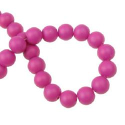 Spectacular rubber glass beads, round for DIY necklaces, bracelets and garment accessories 10 mm painted deep pink ~ 80 cm ~ 80 pieces