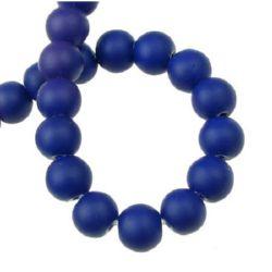 Наниз мъниста стъкло топче 10 мм боядисано гумирано синьо тъмно ~80 см ~80 броя