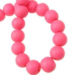 String dyed rubber glass beads, ball form for jewelry making, DIY fringes of beads 10 mm dark pink ~ 80 cm ~ 80 pieces