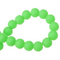 Painted glass rubber beads strand, ball shaped for arts, jewelry making projects 10 mm green ~ 80 cm ~ 80 pieces