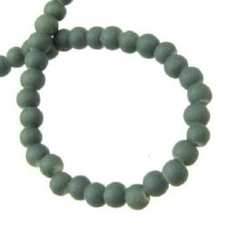 Round glass beads with a synthetic rubber coating  for handmade accessories - eyeglass lanyard from beads, key chains 4 mm  gray ~ 80 cm ~ 210 pieces