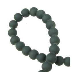 Rubber glass ball beads strand for jewelry making 6 mm gray ~ 80 cm ~ 140 pieces