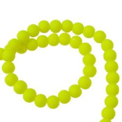 Colored glass rubber beads string, ball shaped for arts, jewelry making projects 6 mm yellow ~ 80 cm ~ 140 pieces