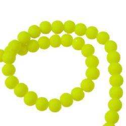 Наниз мъниста стъкло топче 6 мм гумирано жълто ~80 см ~140 броя