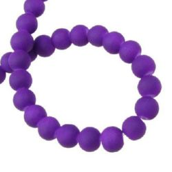 Velvet glass rubber coated beads strand for jewelry making and DIY home art projects 6 mm dark purple ~ 80 cm ~ 140 pieces