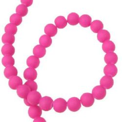Round glass rubber beads string for arts & crafts projects 6 mm deep pink ~ 80 cm ~ 140 pieces