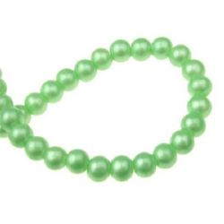 Glass round beads strands for jewelry making 6 mm hole 1 mm green ~ 80 cm ~ 105 pieces