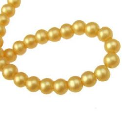 String pearl glass beads  6 mm hole 1 mm cream ~ 80 cm ~ 105 pieces