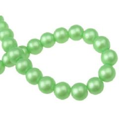 Glass round beads strands for jewelry making, with pearl coating 8 mm hole 1 mm green ~ 80 cm ~ 105 pieces