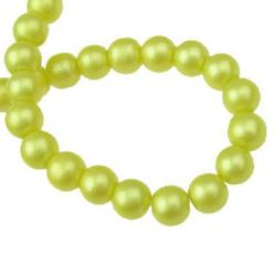 Glass beads strands for jewelry making, pearl ball 8 mm hole 1 mm khaki ~ 80 cm ~ 105 pieces