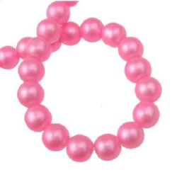 String  glass pearl beads 8 mm hole 1 mm pink ~ 80 cm ~ 105 pieces