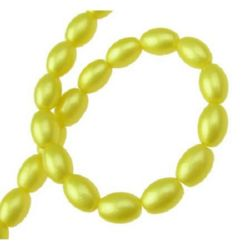 Наниз мъниста стъкло овал 9x6x6 мм дупка 1 мм жълт ~80 см ~90 броя