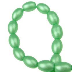 Наниз мъниста стъкло овал 9x6x6 мм дупка 1 мм зелен ~80 см ~90 броя