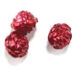 Trandafir 25x24x20 mm gaură 2 mm culoare perlă roșu -50 gr ~ 10 bucăți