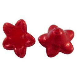 Λουλούδι χάντρα απομίμηση μαργαριτάρι 10x5 mm τρύπα 1 mm κόκκινο -50 τεμάχια