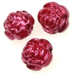 Faux Pearl Beads Rose 16x16x14 mm hole 2 mm red dark -50 grams ~ 31 pieces