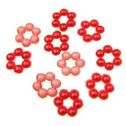 Faux Pearl Beads Flower 9x9x3 mm hole3 mm red -50 pieces