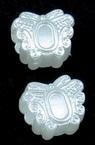 Perla tip  fluture 12x10x7 mm gaură 4 mm culoare alb -20 grame ~ 55 buc